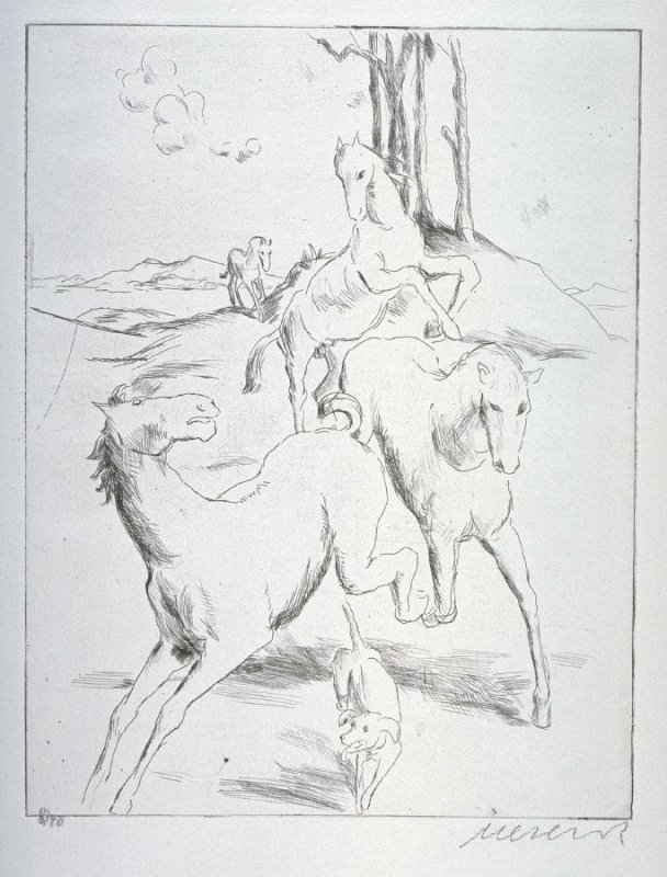 One of 12 Etchings of Animals: [Horses]