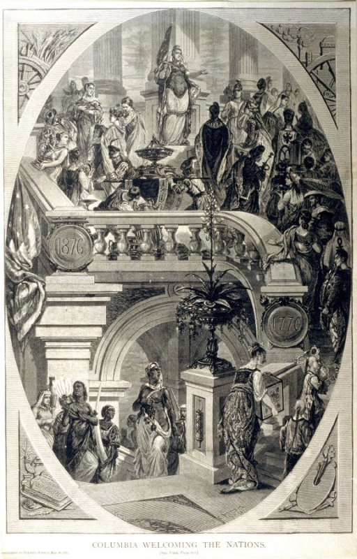 Columbia wecoming The Nations-from Harper's Weekly (9 May 20, 1876)