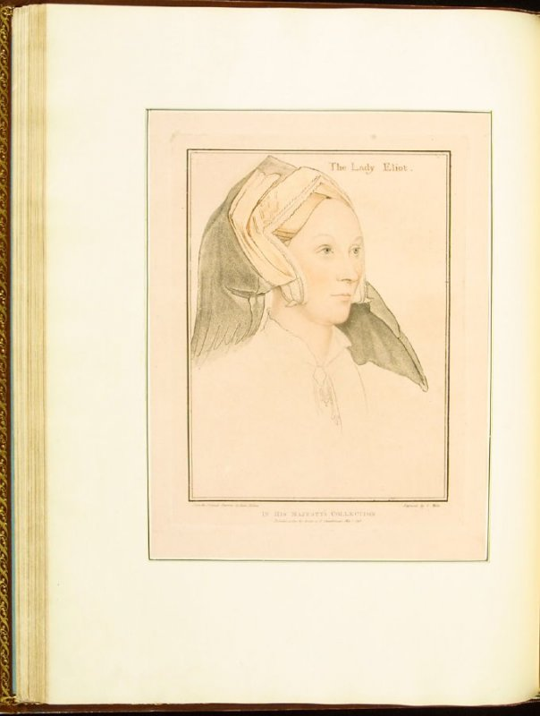 The Lady Eliot (Margaret, Lady Elyot) , plate 34 in the book Imitations of Original Drawings by Hans Holbein in the Collection of His Majesty (London: John Chamberlaine, 1792)