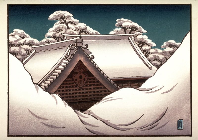 Snow on Temple Roofs, Kyoto