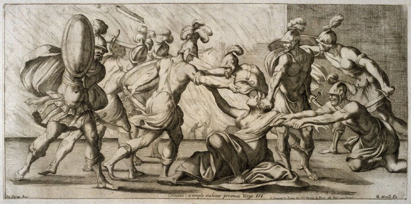 The Greeks dragging Cassandra out of the Temple, plate 3 of L'Enea Vagante Pitture dei Caracci (Wanderings of Aeneas Painted by the Carracci), from of a set of twenty prints after the paintings by Ludovico, Annibale, and Agostino Carracci in the Palazzo F