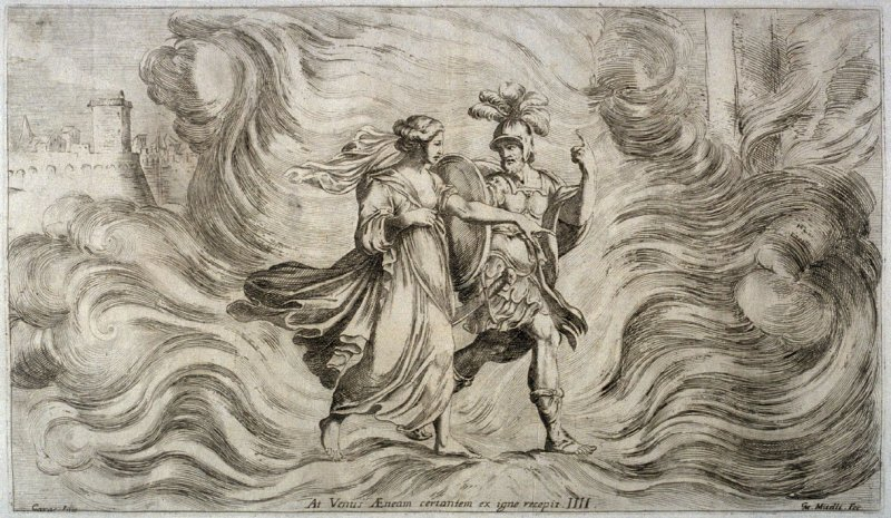 Venus leading Aeneas out of the Flames, plate 4 of L'Enea Vagante Pitture dei Caracci (Wanderings of Aeneas Painted by the Carracci), from of a set of twenty prints after the paintings by Ludovico, Annibale, and Agostino Carracci in the Palazzo Fava, Bolo