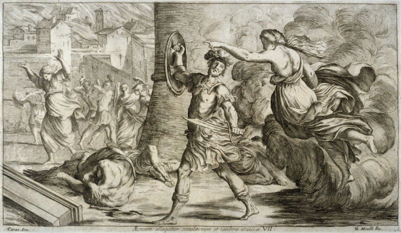 The Shadow of Creusa Appears to Aeneas, plate 7 of L'Enea Vagante Pitture dei Caracci (Wanderings of Aeneas Painted by the Carracci), from of a set of twenty prints after the paintings by Ludovico, Annibale, and Agostino Carracci in the Palazzo Fava, Bolo
