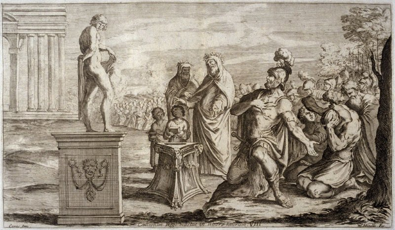 Aeneas offers a Sacrifice to Apollo, plate 8 of L'Enea Vagante Pitture dei Caracci (Wanderings of Aeneas Painted by the Carracci), from of a set of twenty prints after the paintings by Ludovico, Annibale, and Agostino Carracci in the Palazzo Fava, Bologna