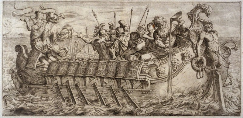 Aeneas Pours Wine into the Sea in Gratitude for his Arrival in Italy, plate 11 of L'Enea Vagante Pitture dei Caracci (Wanderings of Aeneas Painted by the Carracci), from of a set of twenty prints after the paintings by Ludovico, Annibale, and Agostino Car