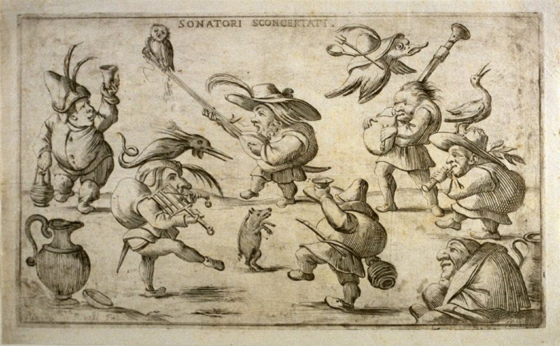 Sonatori sconcertati (Discordant Musicians), from an unnumbered set of twelve caricatures engraved by Giuseppe Maria Mitelli after Pietro de Rossi's drawings