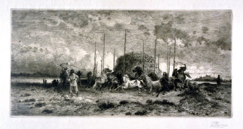 Indians corraling horses