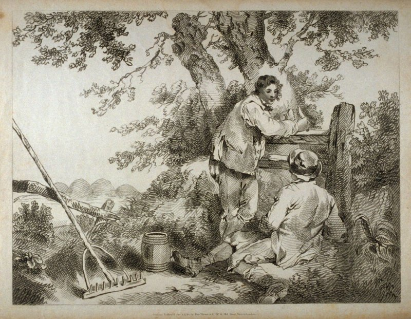 Two boys in garden, rake and barrel on ground