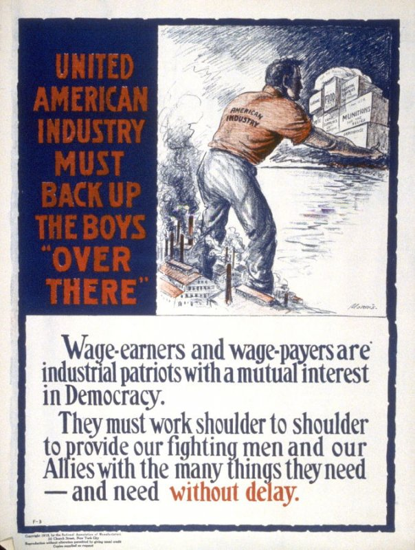 """United States Industry must back up the boys """"over there"""" - World War I Poster"""