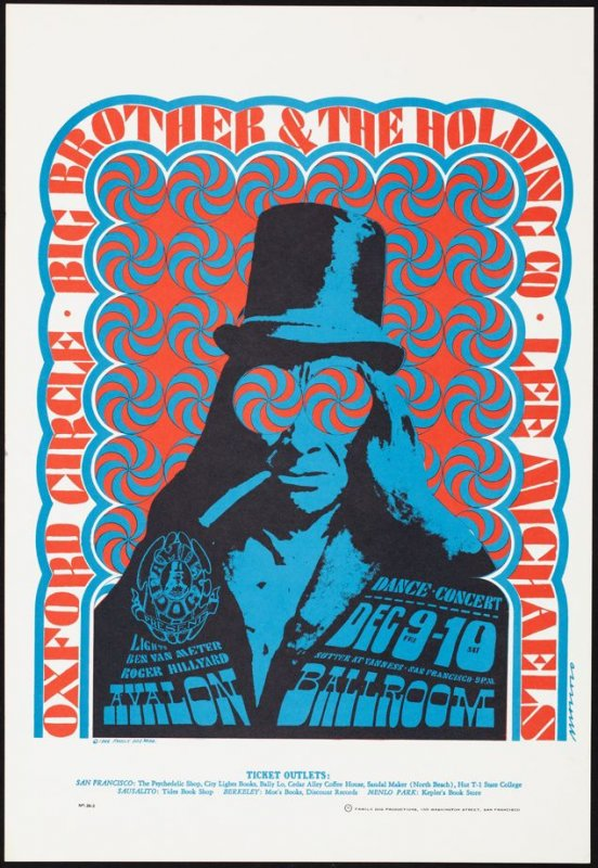 """Indian with the Swirling Eyes,"" Big Brother & the Holding Company, Oxford Circle, Lee Michaels, December 9 & 10, Avalon Ballroom"