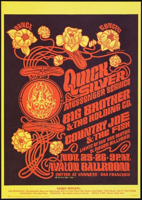 """Quicksilver,"" Quicksilver Messenger Service, Big Brother & the Holding Company, Country Joe & the Fish, November 25 & 26, Avalon Ballroom"