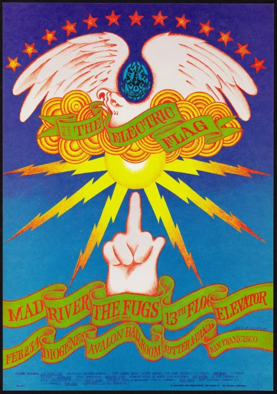"""""""The Finger Poster,""""  Electric Flag, Mad River, Fugs, 13th Floor Elevators, February 2 - 4, Avalon Ballroom"""