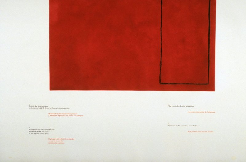 Untitled (Red 4-7), page in the unbound book A la pintura/ To Painting