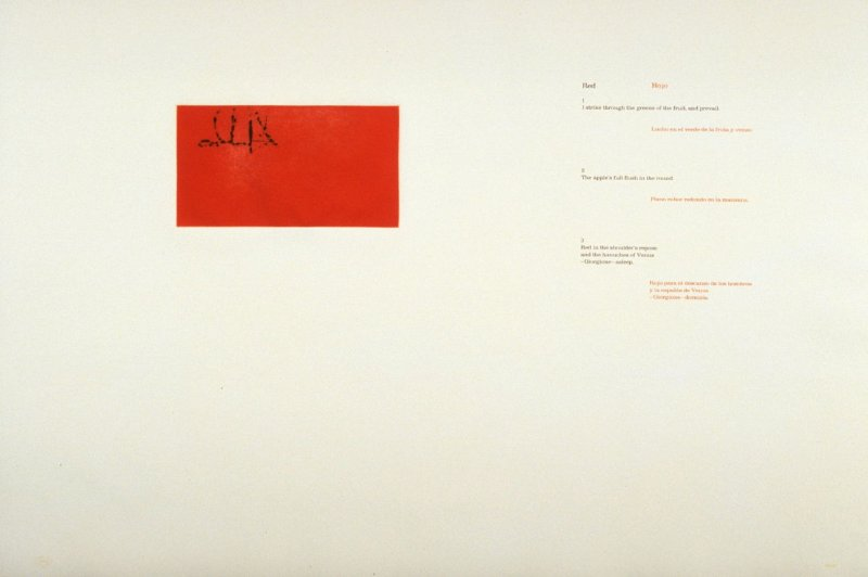 Red/ Rojo 1-3, page in the unbound book A la pintura/ To Painting