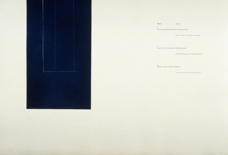Blue/ Azul 1-3, page in the unbound book A la pintura/ To Painting