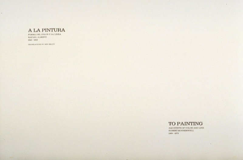 A la pintura/t\ To Painting, title page in the unbound book A la pintura/ To Painting