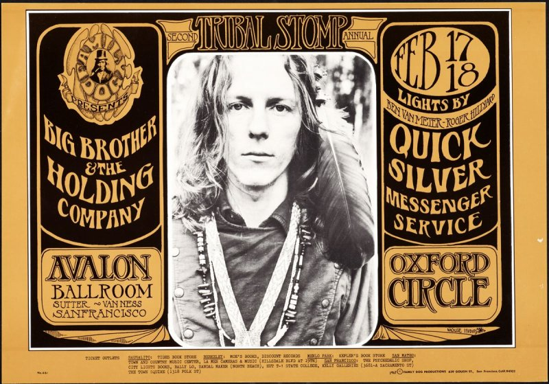 """""""James Gurley,"""" Big Brother and the Holding Company, Quicksilver Messenger Service, Oxford Circle, February 17 & 18, Avalon Ballroom"""
