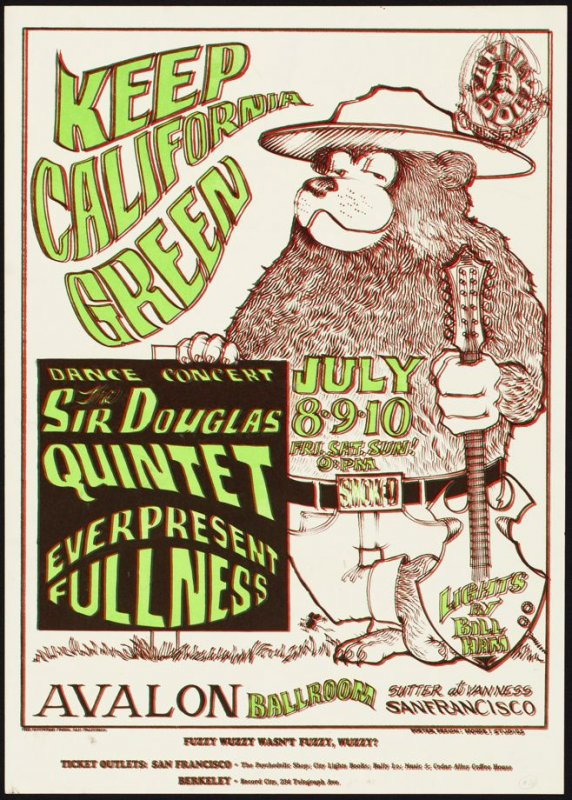 """Keep California Green,"" Sir Douglas Quintet, Everpresent Fullness, July 8 - 10, Avalon Ballroom"