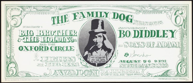 """""""Dollar Bill,"""" Big Brother & the Holding Company, Oxford Circle, Bo Diddley, Sons of Adam, August 5 & 6, Avalon Ballroom"""