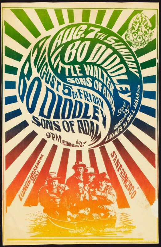 """Five Men in a Boat,"" Bo Diddley, Sons of Adam, Little Walter, August 5 & 7,  Longshoreman's Hall, August 6, Avalon Ballroom"