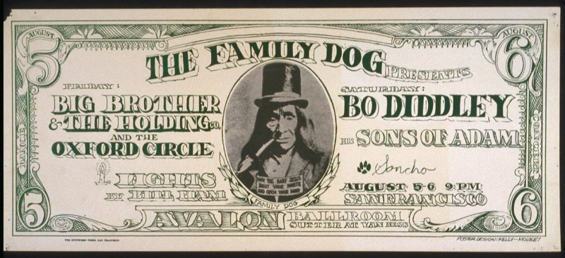 """Dollar Bill,"" Big Brother and the Holding Company, Oxford Circle, Bo Diddley, Sons of Adam, August 5 & 6, Avalon Ballroom"