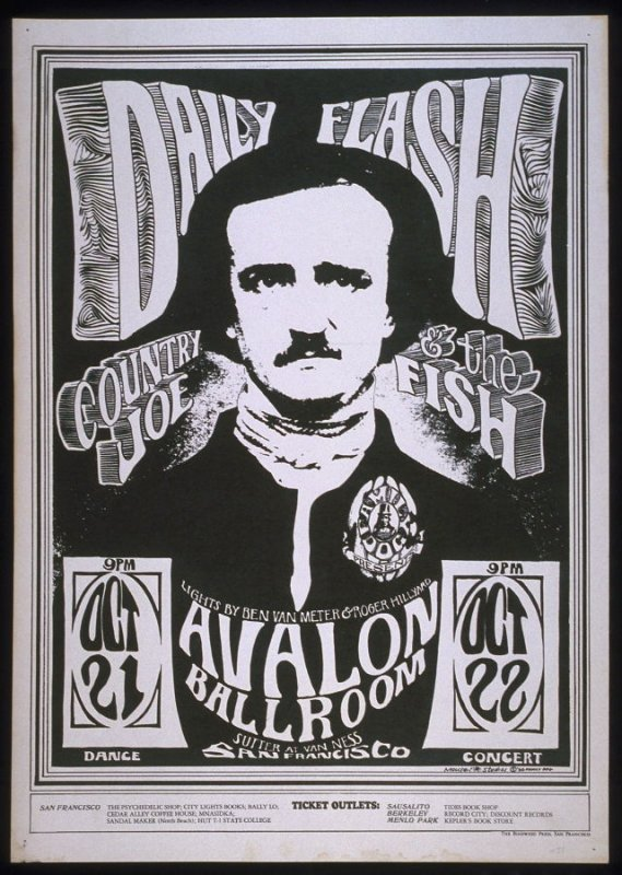 """Edgar Allan Poe,"" Daily Flash, Country Joe and the Fish, October 21 & 22, Avalon Ballroom"