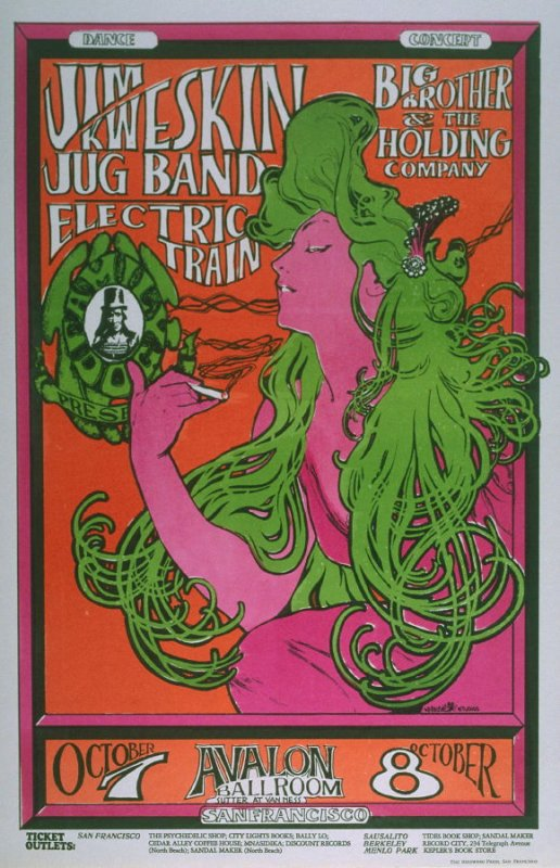 """""""The Woman with Green Hair,"""" Jim Kweskin Jug Band, Big Brother and the Holding Company, Electric Train, October 7 & 8, Avalon Ballroom"""