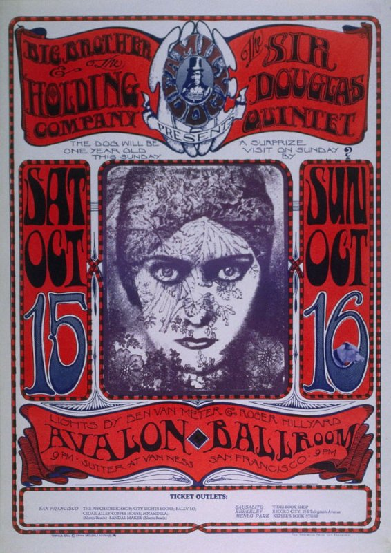 """Gloria Swanson,"" Big Brother and the Holding Company, Sir Douglas Quintet, October 15 & 16, Avalon Ballroom"