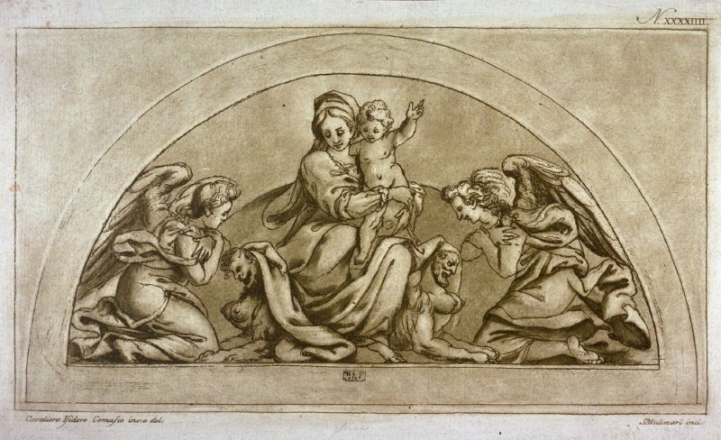 Two angels worshipping the Virgin and Child