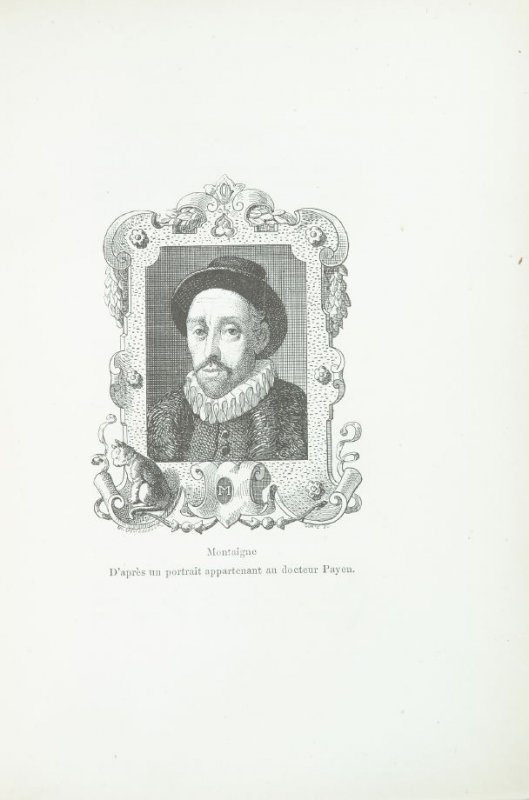 """""""Montaigne,"""" pg. IX, in the book Les Chats (Cats) by Champfleury (Paris: J. Rothschild, 1870)."""