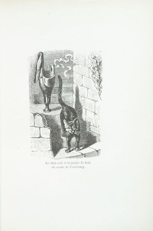 """Le chat noir et la jambe de bois du comte de Combourg,"" pg. 38, in the book Les Chats (Cats) by Champfleury (Paris: J. Rothschild, 1870)."