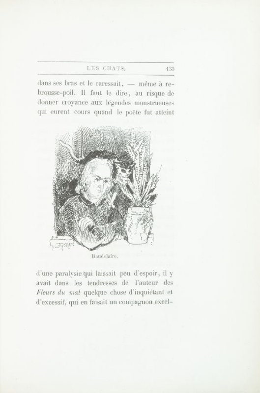 """""""Portrait of Baudelaire,"""" pg. 133, in the book Les Chats (Cats) by Champfleury (Paris: J. Rothschild, 1870)."""