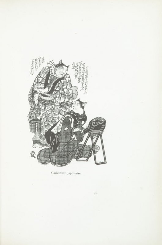 """""""Caricature japonaise,"""" pg. 193, in the book Les Chats (Cats) by Champfleury (Paris: J. Rothschild, 1870)."""
