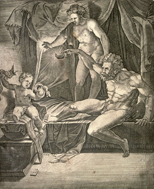 The Young Hercules in his Cradle, after Giulio Romano