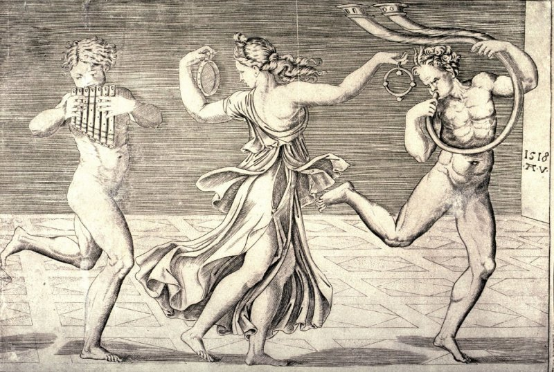 Dance of Fauns and Bacchantes after Raphael, left half