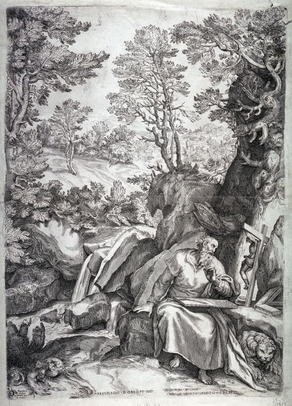 St. Jerome in the Desert, by an unknown engraver after Girolamo Muziano