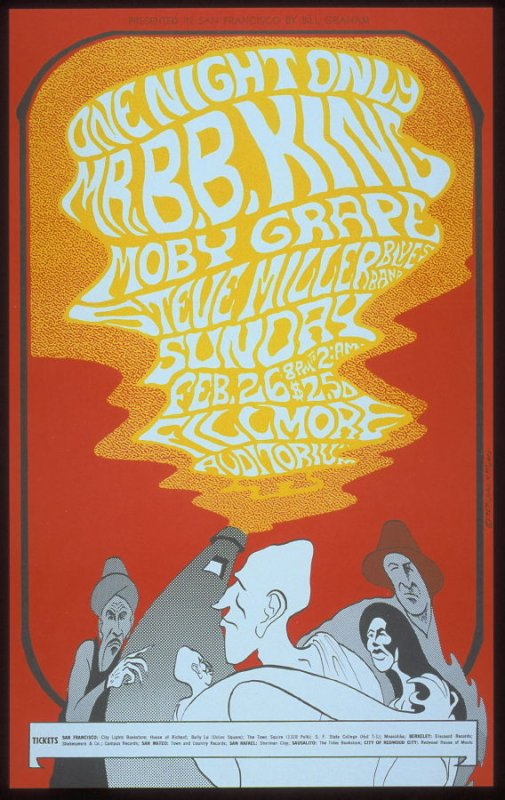 B.B. King, Moby Grape, Steve Miller Blues Band, February 26, Fillmore Auditorium