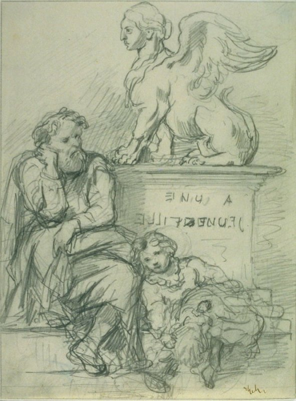 Study for the lithograph, A une jeune fille