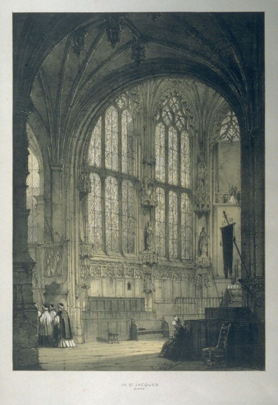 In St. Jacques, Dieppe: East End, Interior, plate 3 in the incomplete disbound book, Architecture of the Middle Ages (London: T[homa]s Maclean, 1838)