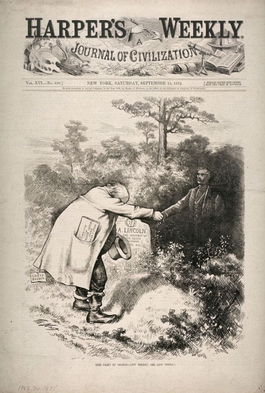 The Next in Order-Anything! Oh Anything - from Harper's Weekly (September 14, 1872), cover page