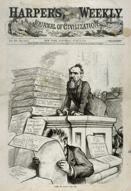 """""""Why We Laugh"""" Pro Tem, from Harper's Weekly, (June 3, 1876), cover page"""