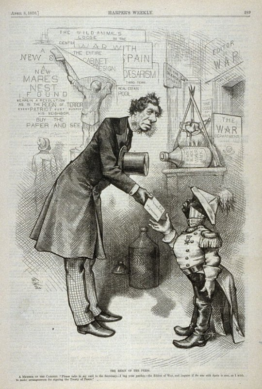 The Reign of the Press, from Harper's Weekly, (April 8, 1876), p. 289