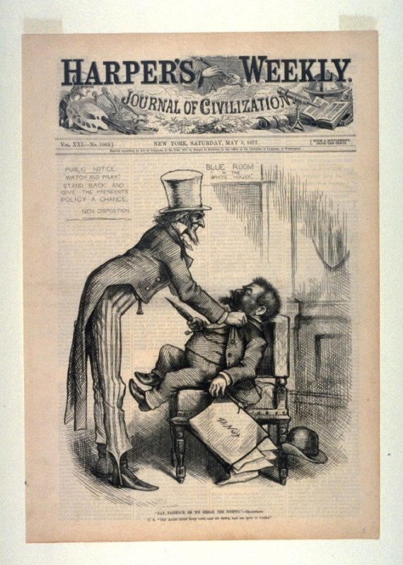 """""""Nay Patience, or We Break the Sinews"""", from Harper's Weekly, (May 5, 1877), cover page"""