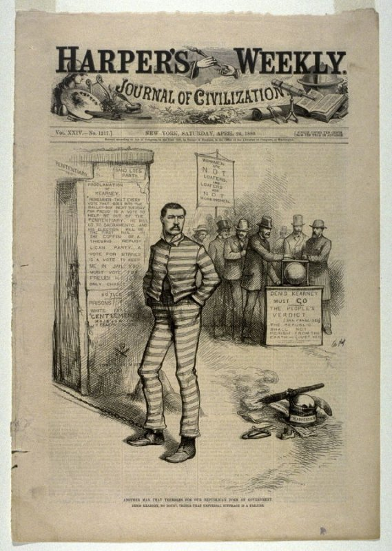Another Man That Trembles for Our Republican Form of Government, from Harper's Weekly (April 24, 1880), cover page