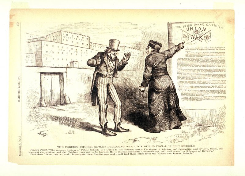 The Foreign Church Declaring War Upon Our National Public Schools, from Harper's Weekly, (November 8, 1873, p. 997