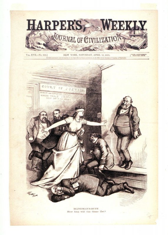 Blindman's-Buff, from Harper's Weekly, (April 12, 1873), cover page