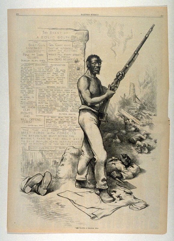 """""""He Wants a Change Too"""", from Harper's Weekly, (October 28, 1877), pp. 872-873"""