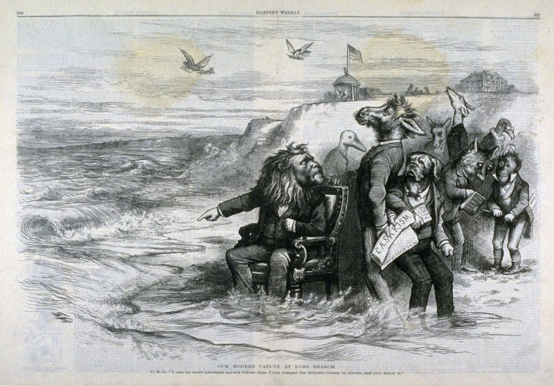 Our Modern Canute at Long Branch, from Harper's Weekly, (October 11, 1873), p. 896-897