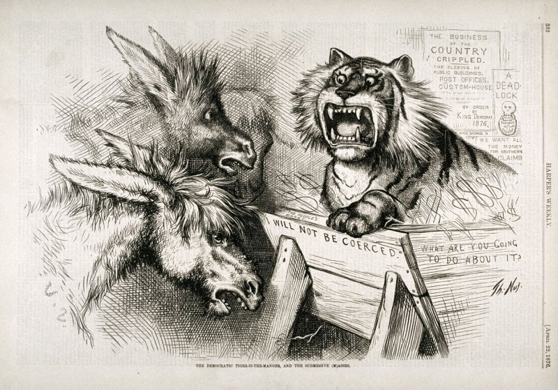 The Democratic Tiger in the Manger, and the Submissive (M)Asses, from Harper's Weekly, p. 332