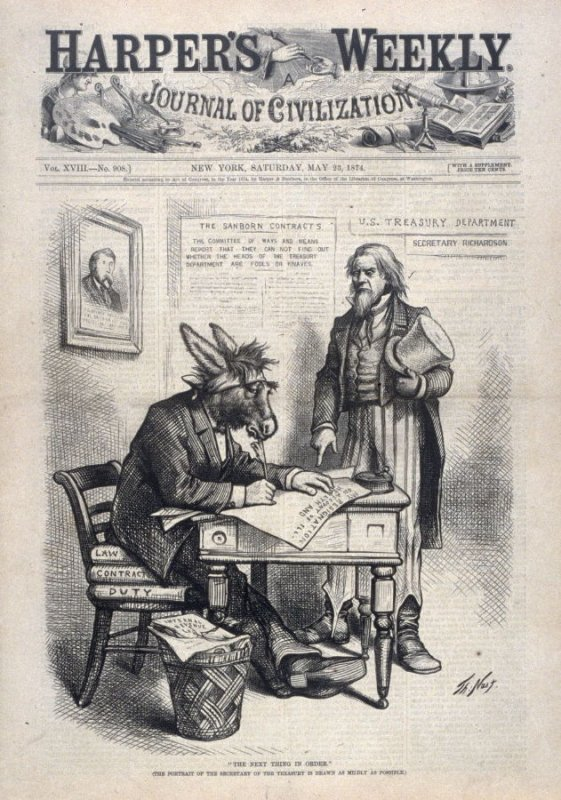 The Next Thing in Order, from Harper's Weekly, (May 23, 1874), cover page